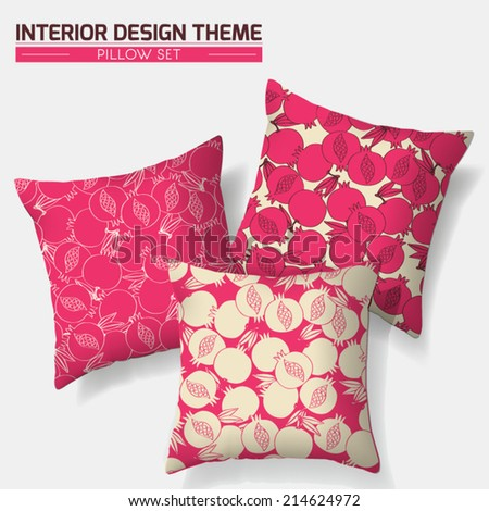 Decorative cheerful throw pillow set in matching colors. Original Pomegranate pattern is complete, masked. Modern interior design element.Creative Sofa Toss Pillow. Vector design is layered, editable  - stock vector