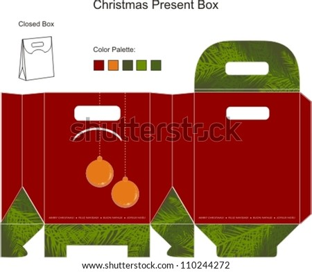 Decorative christmas box with die cut Christmas Ornaments