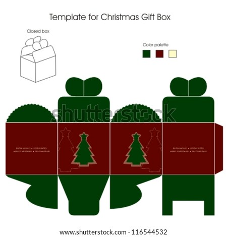 Decorative christmas box with die cut tree