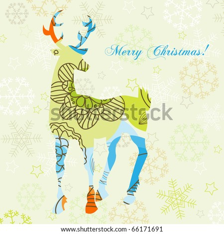 Decorative Christmas deer - stock vector