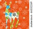 Decorative Christmas deer; snowflakes background - stock vector