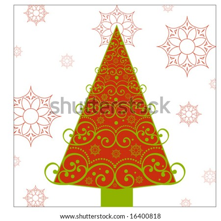 decorative christmas tree - stock vector