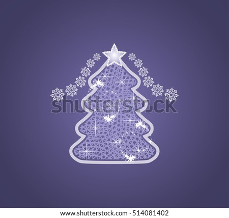 Decorative Christmas tree on the dark blue background. Vector