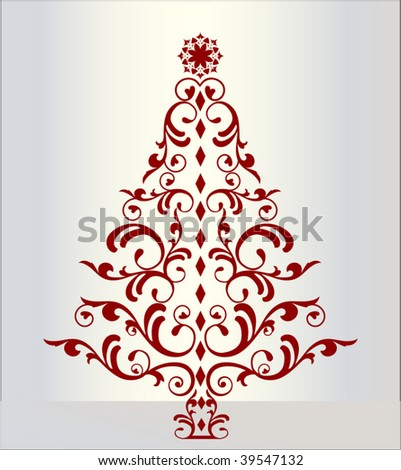 decorative christmas tree separate elements easily change colors - stock vector