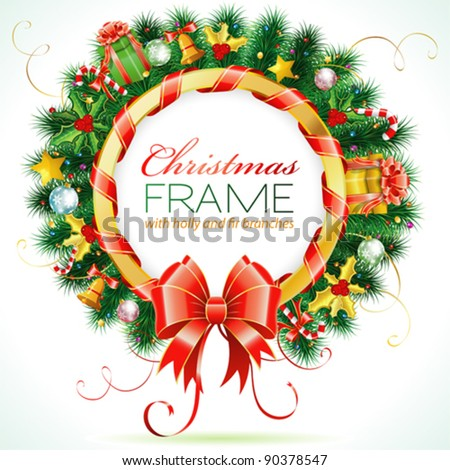 Decorative Christmas Wreath with Ribbon, Candy and Decoration element - stock vector