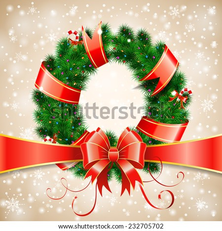 Decorative Christmas Wreath with Ribbon, Candy and Decoration element on Bokeh Background, vector illustration. - stock vector