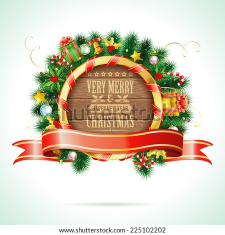 Decorative Christmas Wreath with Ribbon, Candy, Wooden Boards and Decoration element. Vector isolated on white background. - stock vector
