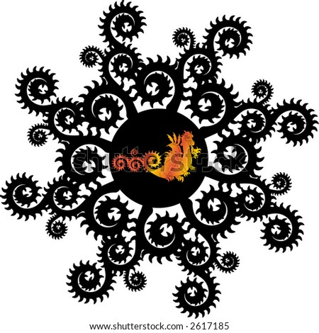 decorative  circle  with dragon - stock vector