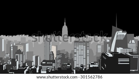 Decorative city skyline background urban buildings grey black