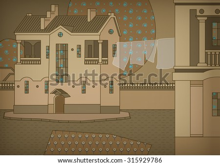 Decorative cityscape with a houses and a part of the street - stock vector