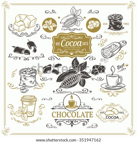 Decorative cocoa schocolate design set. Calligraphic elements, page decoration and vintage frames. - stock vector
