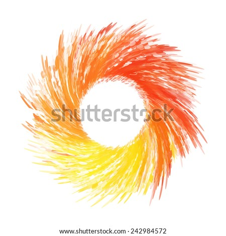 Decorative colored abstract circular frame with watercolor effect  - stock vector