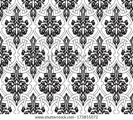 Decorative colorful floral seamless pattern in mosaic ethnic style. Vector background illustration