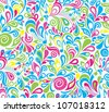 Decorative colorful vector musical seamless background with notes and leaves - stock vector