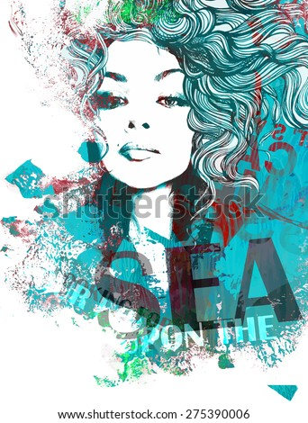 Decorative composition with a female face, text and painted blots - stock vector