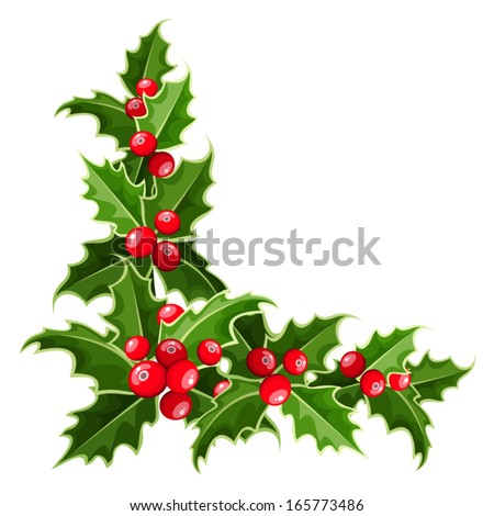 Decorative corner with Christmas holly. Vector illustration. - stock vector