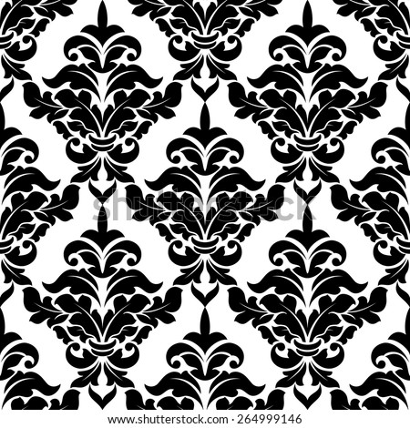 Decorative damask floral seamless pattern with curly black flowers for wallpaper and background design - stock vector