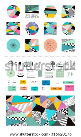 Decorative design collection. Creative backgrounds with icons and scrapbook elements. Wedding, anniversary, birthday, Valentin's day, party invitations. Vector. Gradients free. Isolated. - stock vector