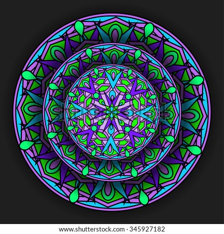 decorative design element with a circular pattern. Mandala. Vector illustration