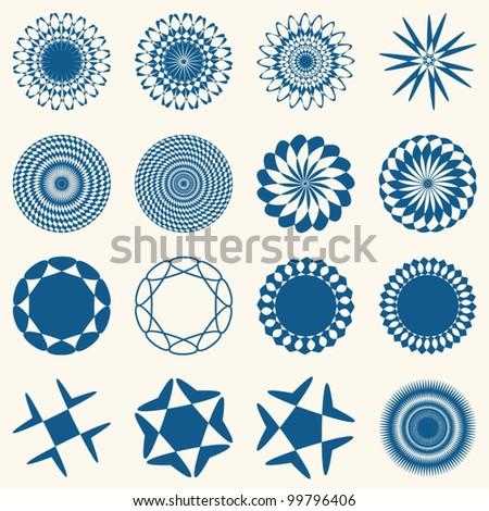 Decorative design elements. Circle ornament. Vector set. - stock vector