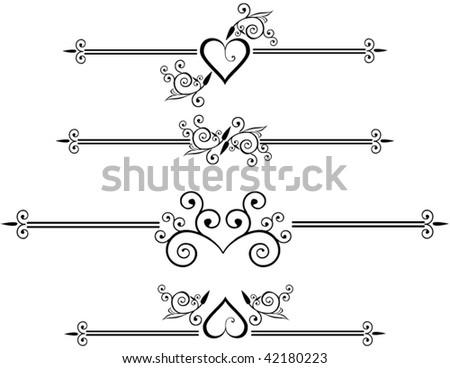 Decorative design elements, rule lines - stock vector