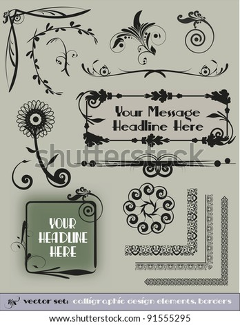 Decorative Design Elements Vector Set - Another set of unique, victorian inspired embellishments for menus, borders, weddings, and vintage designs. - stock vector