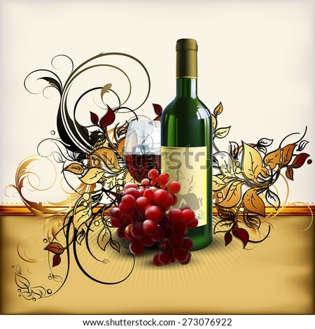 decorative design of the bottle and a glass of wine with a branch of red grapes - stock vector