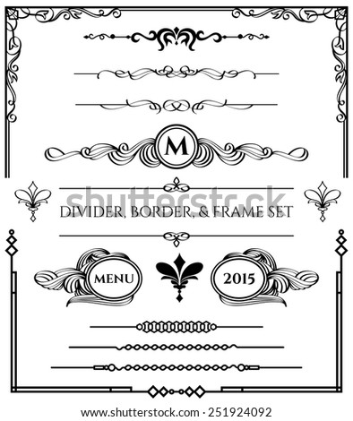 Decorative Divider, Border, & Frame Elements Set in Black Version on White Background. For any of your designs such us certificate, invitation, print designs, web designs, etc. - stock vector