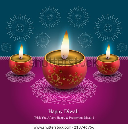 Decorative Diwali Lamps Design - stock vector
