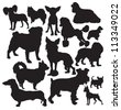 decorative dogs vector silhouette - stock vector