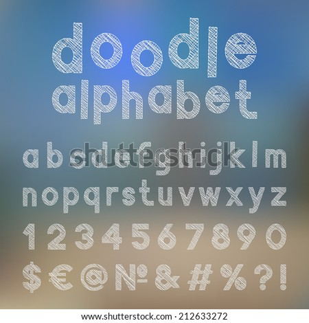 Decorative doodle alphabet. Vector illustration.  - stock vector