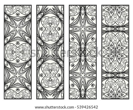 Decorative doodle black lace borders patterns. Tribal ethnic arabic, indian, turkish ornament, bookmarks templates set. Isolated design elements. Stylized geometric floral border, fashion collection