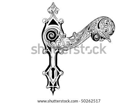 Decorative door handle on the white - stock vector