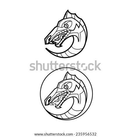 decorative dragon head in a circle - mythical creature - suitable for a logo and design - stock vector