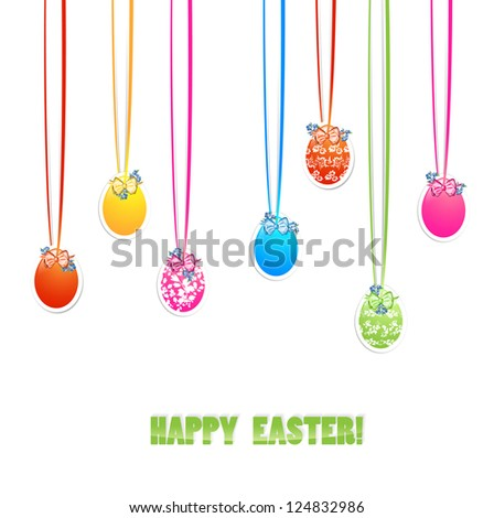 Decorative Easter Eggs With Bows and Flowers Over White Background