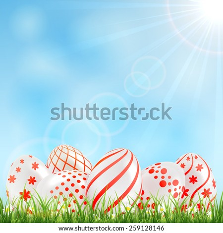 Decorative Easter eggs with red patterns in the grass and blue sky, illustration. - stock vector