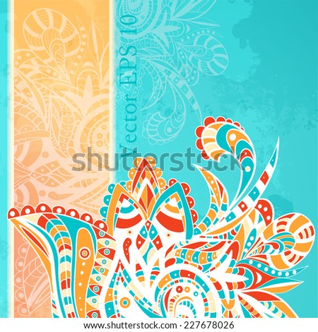 Decorative element border. Abstract invitation card. Template oriental design for card. Abstract watercolor blobs background, floral ornament, hand drown pattern, ethnic  maritime theme for design - stock vector