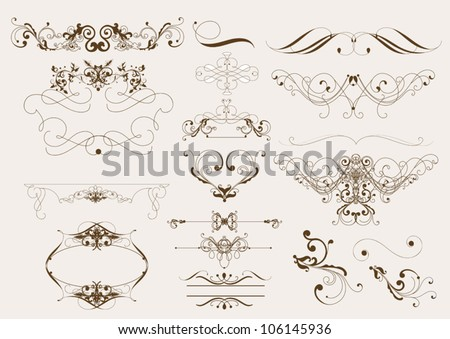 Decorative elements for elegant deign. Calligraphic vector - stock vector