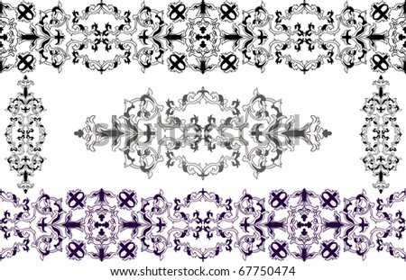 Decorative elements in Baroque style a color variant and a cliche - stock vector