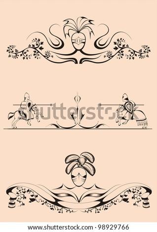decorative elements in the baroque-Romanesque style,tilt, joust, dividers - stock vector