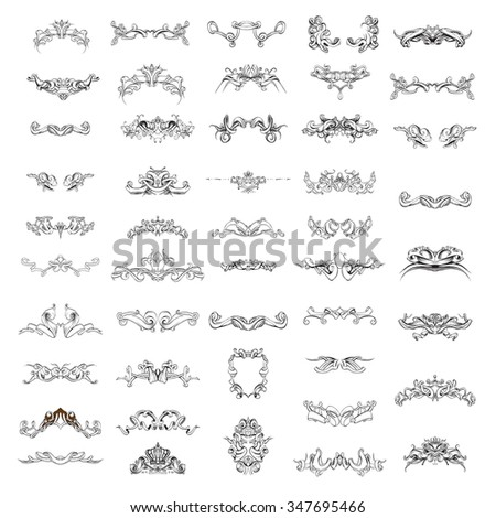 decorative elements in vintage style for decoration layout, framing, for text for advertising, vector illustration hands, set - stock vector