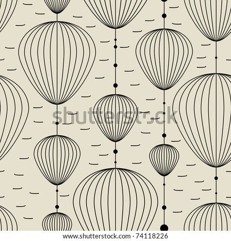Decorative elements on gray background - seamless pattern - stock vector