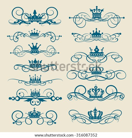Decorative elements. Ornate Rule and Scrolls. Graphic design. Design elements: frame, border, swirl, scroll, crown, ornaments for page. Vintage. Old design vector concept - stock vector