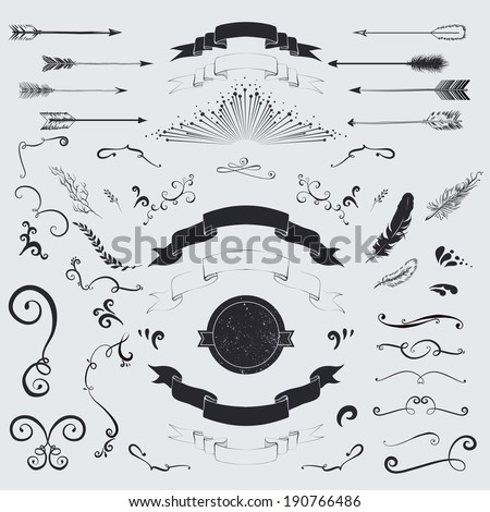 Decorative elements set: arrows, laurel, feathers, ribbons and labels. - stock vector