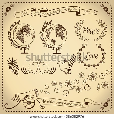 Decorative elements set. Peace. love. joy, no war