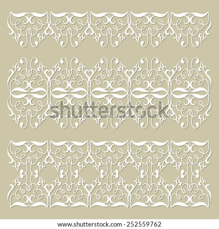 Decorative elements set, sketch lace border pattern for invitation card design, vector collection - stock vector