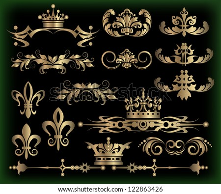 decorative elements, vintage ornaments, dividers, vector images for design in retro style on black background - stock vector