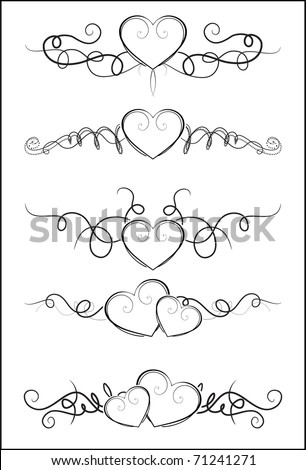 Decorative Elements with hearts for design - stock vector