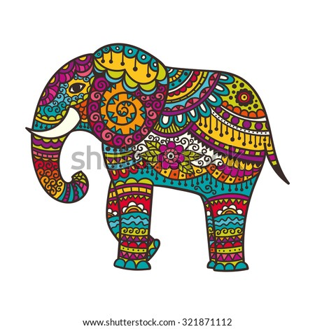 Decorative elephant illustration. Indian theme with ornaments. Vector isolated illustration. - stock vector