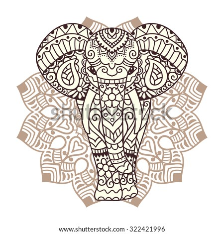 Decorative elephant with mandala. Indian theme with ornaments. Vector isolated illustration. - stock vector